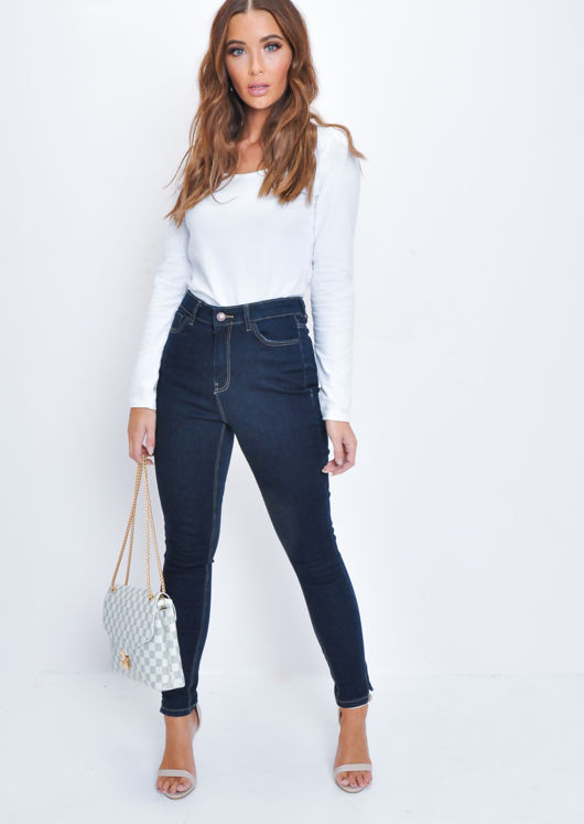 High Waisted Slit Detail Skinny Jeans Denim Blue
