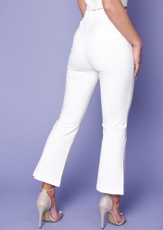 High Waisted Split Front Flared Trousers White