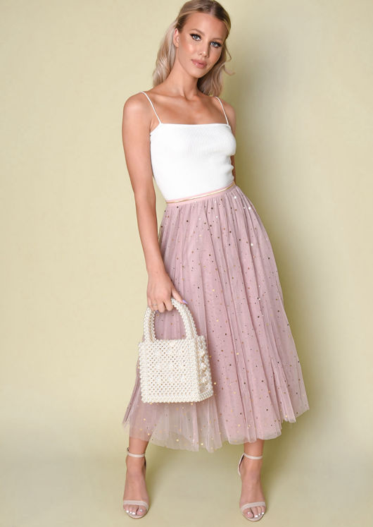 High Waisted Star Sequin Tulle Midaxi Skirt Pink by Lily Lulu Fashion