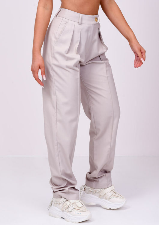 High Waisted Wide Leg Trousers Beige