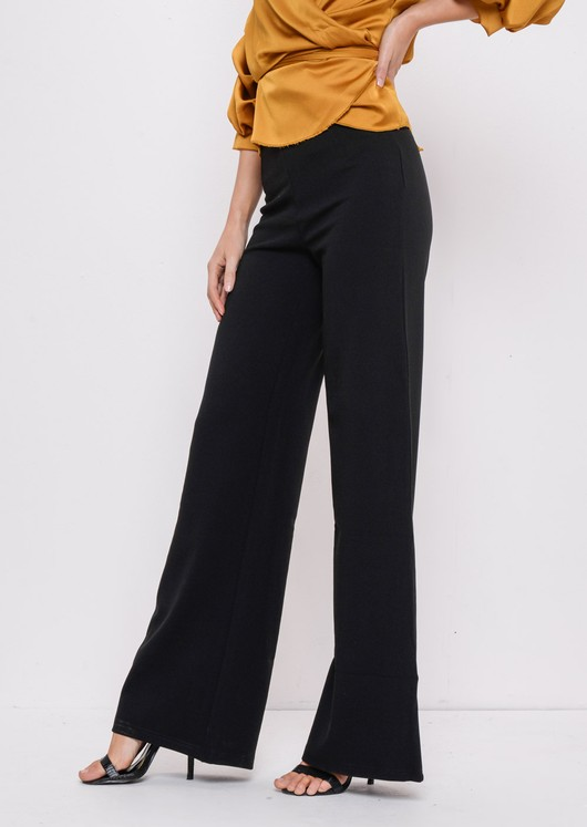 High Waisted Wide Leg Palazzo Trousers Black