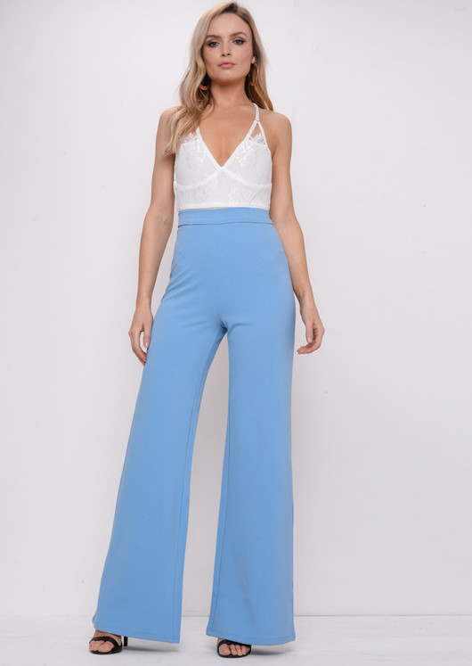 High Waisted Wide Leg Palazzo Trousers Blue
