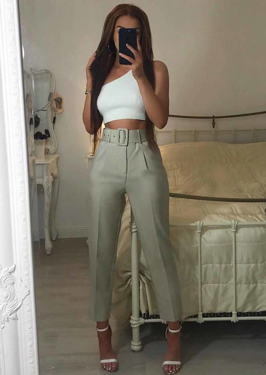 High Waisted Tailored Belted Trousers Beige