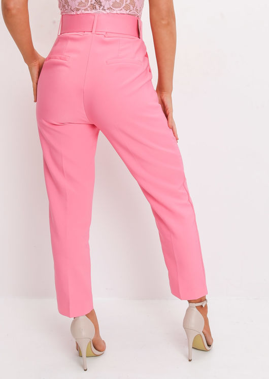 High Waisted Tailored Belted Trousers Pink