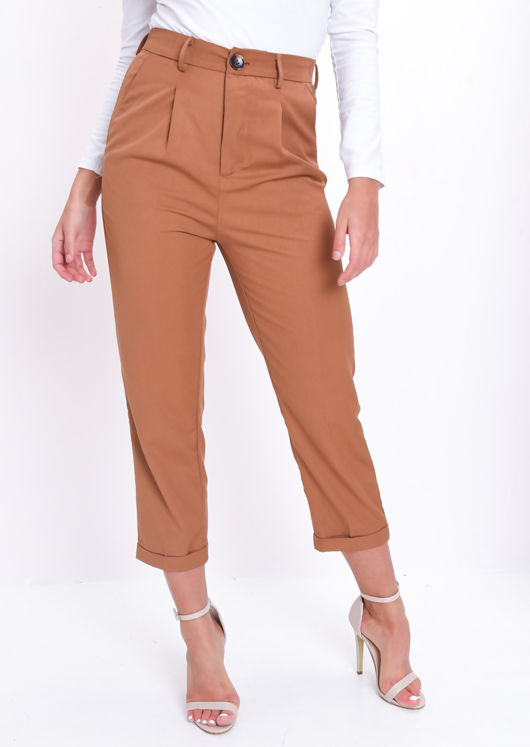 High Waisted Tapered Leg Tailored Trousers Camel Brown