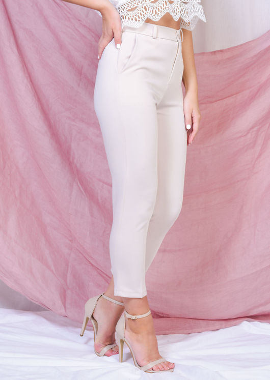 High Waisted Tapered Leg Trousers Beige