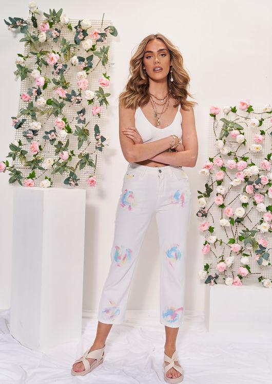 High Waisted Tie Dye Print Wide Leg Jeans White