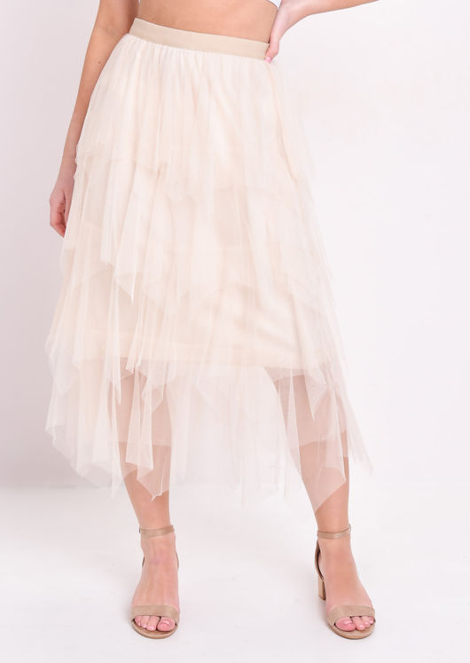 High Waisted Tiered Tulle Midi Skirt Beige