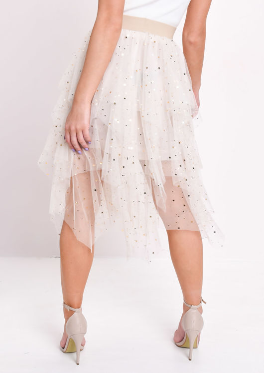 High Waisted Tiered Tulle Star Sequin Skirt Beige