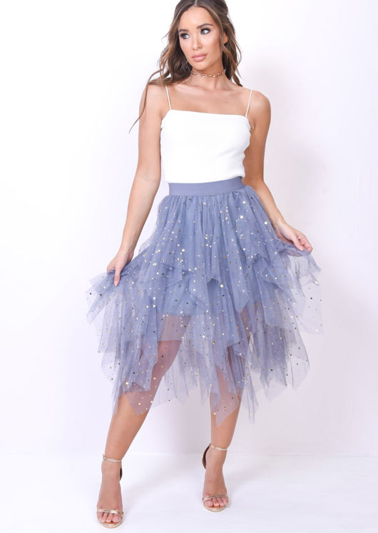 High Waisted Tiered Tulle Star Sequin Skirt Blue