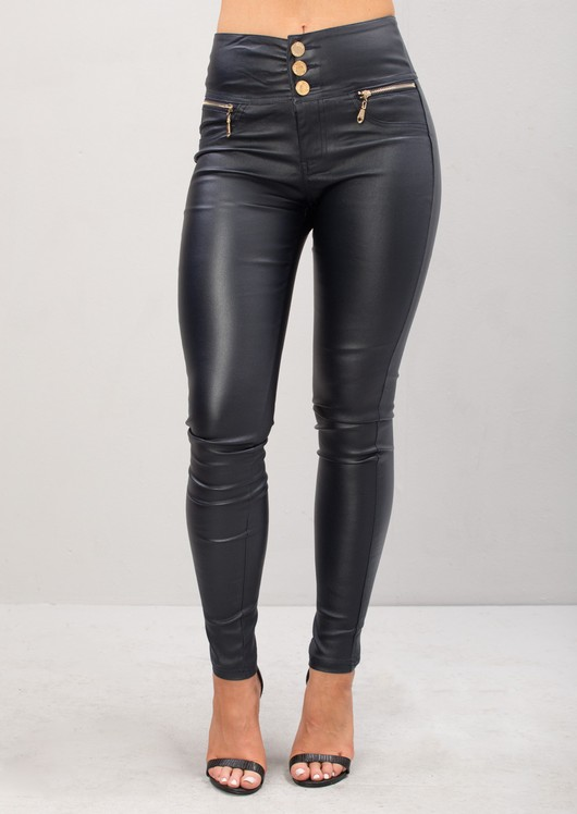 High Waisted Triple Button Jeans Leather Look Trousers Navy Blue