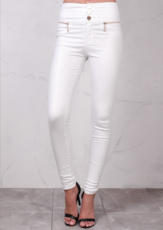 High Waisted Triple Button Jeans Leather Look Trousers White