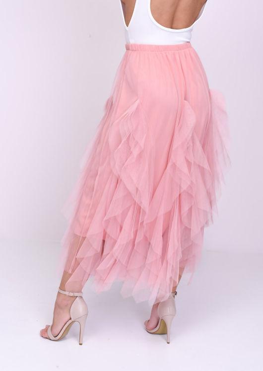 High Waisted Tulle Ruffle Mesh Midi Skirt Pink