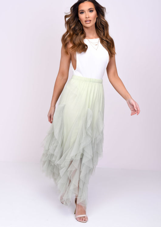 High Waisted Tulle Ruffle Mesh Midi Skirt Mint Green