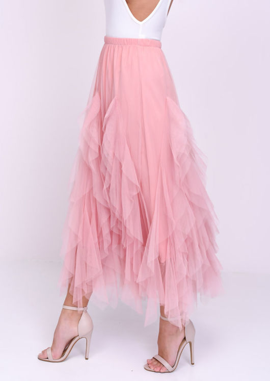 High Waisted Tulle Ruffle Mesh Midi Skirt Pink