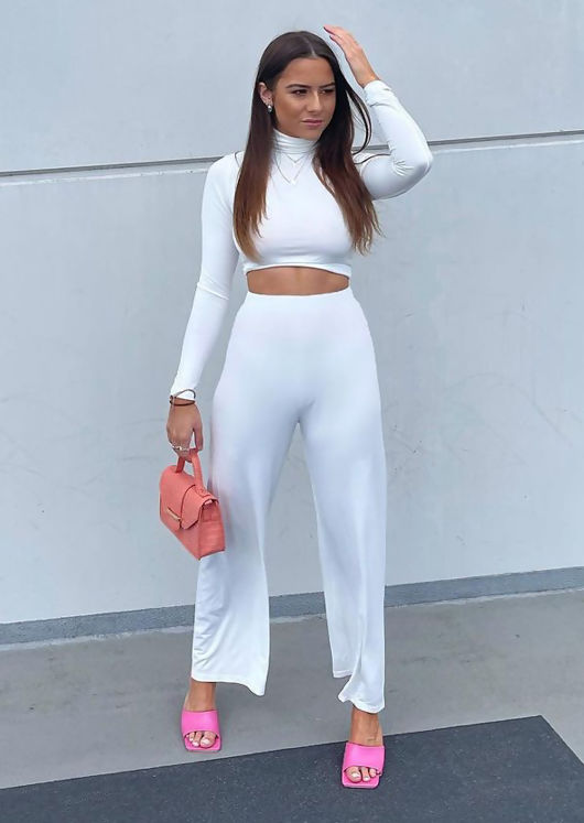 High Waisted Turtle Neck Crop Sweater Pants Loungewear Co-Ord Set White