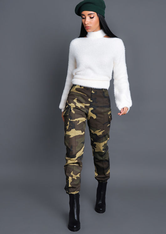 High Waisted Utility Cargo Trousers Camo Green