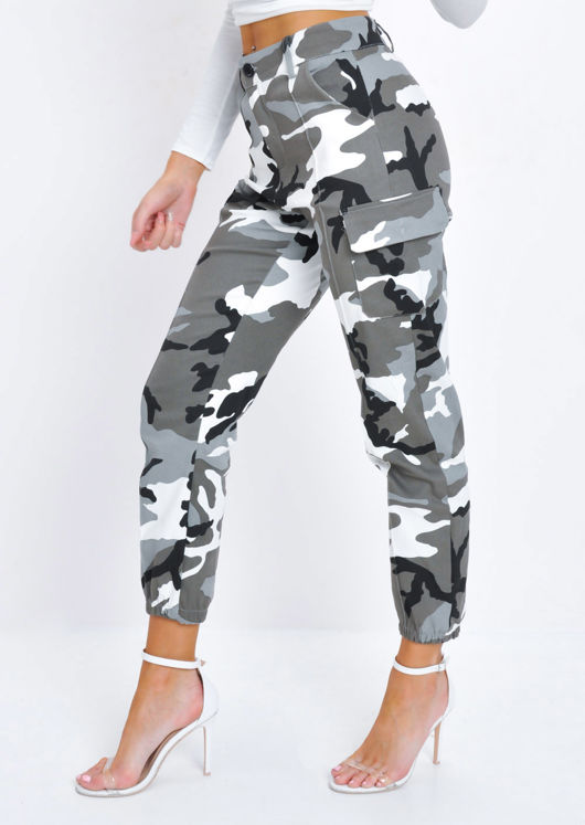 High Waisted Utility Cargo Trousers Camo Grey