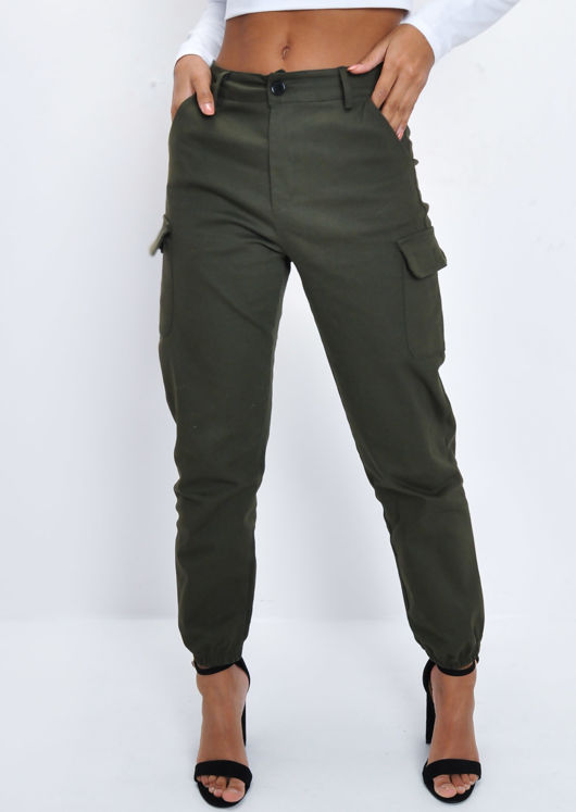 High Waisted Utility Cargo Trousers Khaki Green