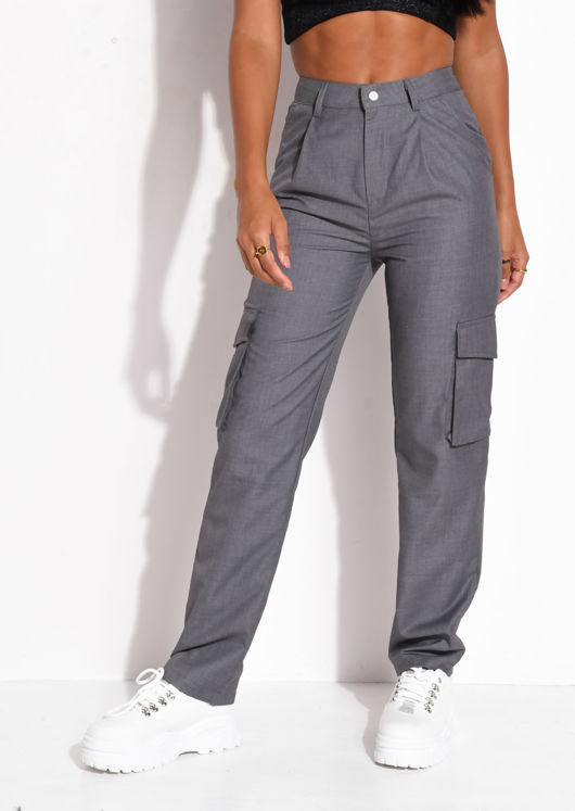 High Waisted Utility Pocket Detail Trousers Grey