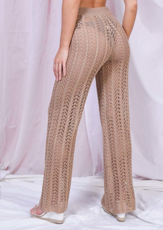 High Waisted Wide Leg Knit Trousers Brown