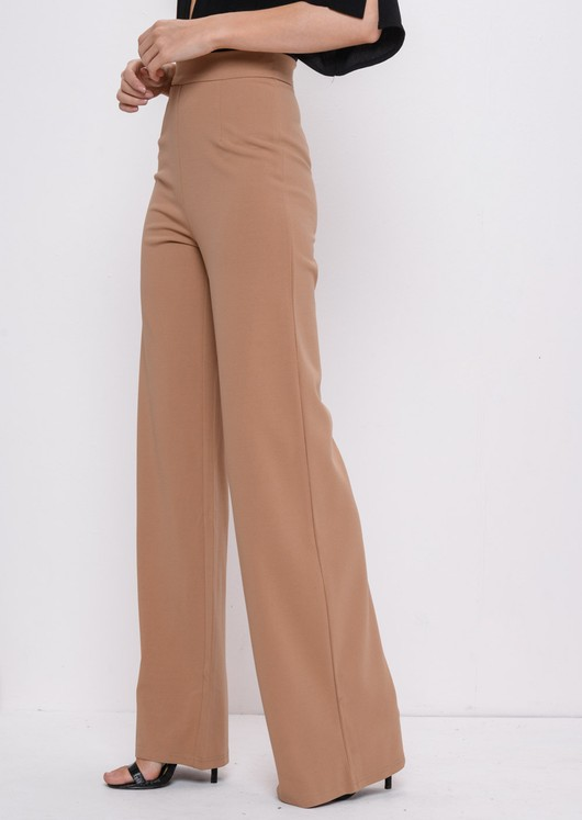 f598878808a High Waisted Camel Wide Leg Palazzo Trousers Beige