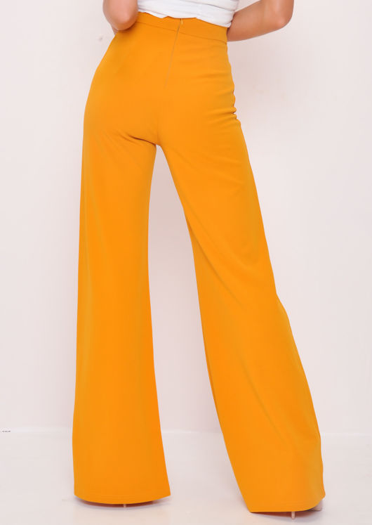 High Waisted Wide Leg Palazzo Trousers Mustard Yellow