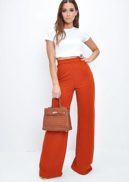 High Waisted Wide Leg Palazzo Trousers Rust Orange