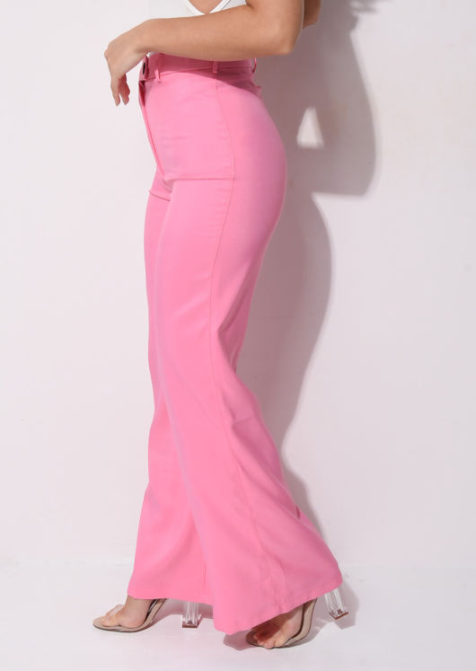 High Waisted Wide Leg Tailored Trousers Pink