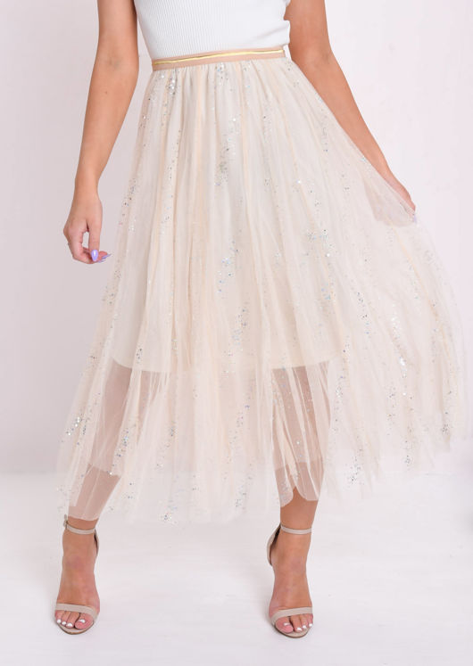 Holographic Glittery Embellished Tulle Midi Skirt Beige by Lily Lulu Fashion