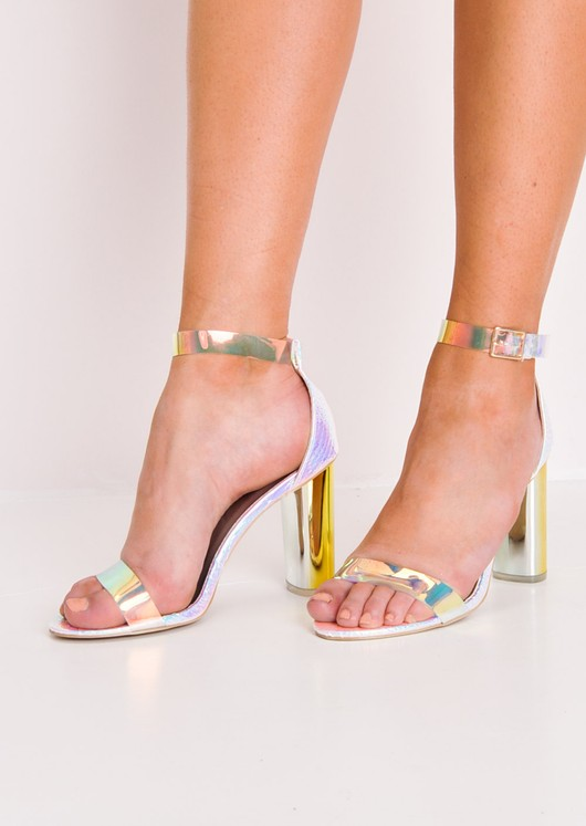 Holographic Clear Strap High Heels Silver