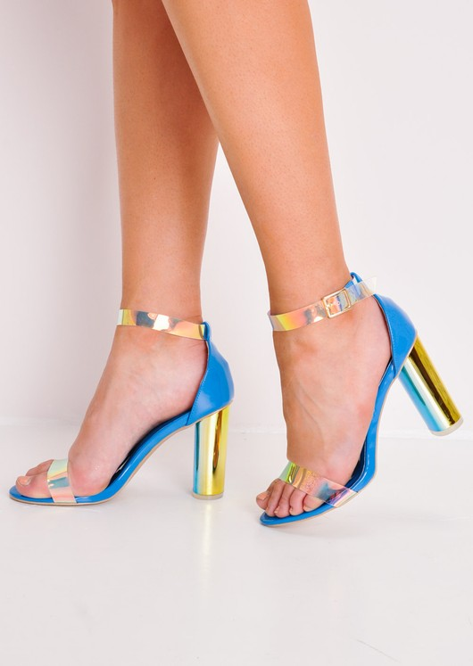 Holographic Clear Strap High Heels Blue