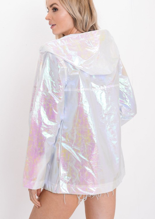 Holographic Rain Mac Festival Jacket Coat White