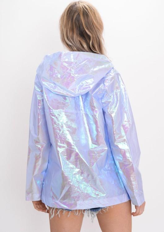 Holographic Rain Mac Festival Jacket Coat Blue