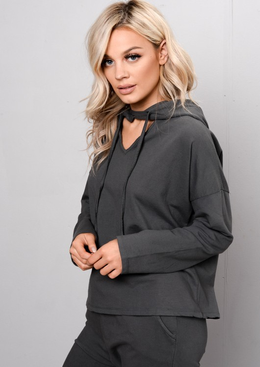 Hooded Cropped Tracksuit Set Co Ord Dark Grey