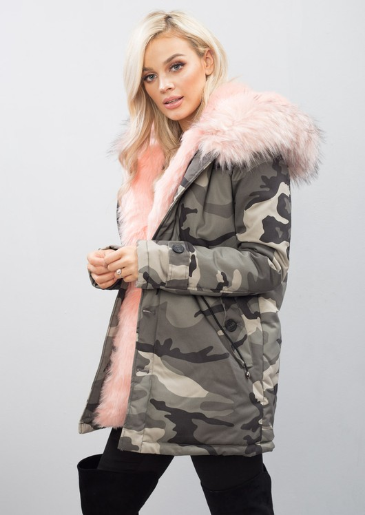 Pink Faux Fur Hooded Full Fleece Parka Camo Khaki Coat Green