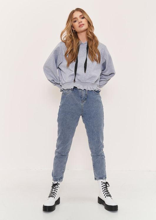 Ribbed Frilled Hem Puff Sleeves Sweater Hoodie Top Grey