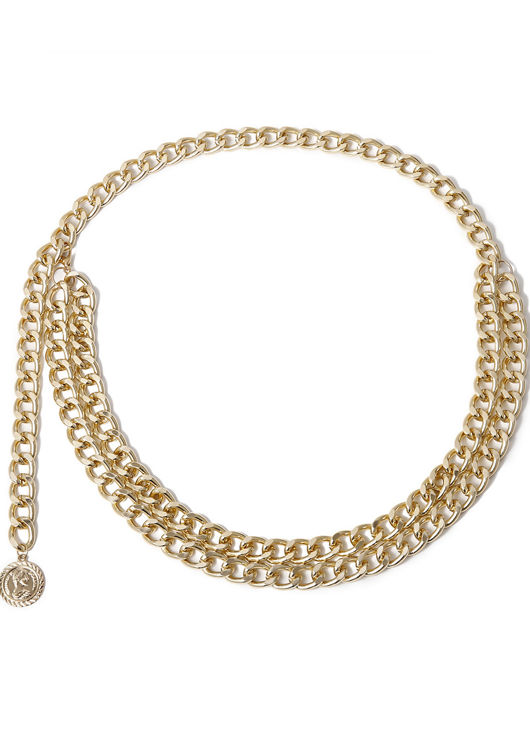 Hook On Pendent Chain End Detailing Waist Belt Gold