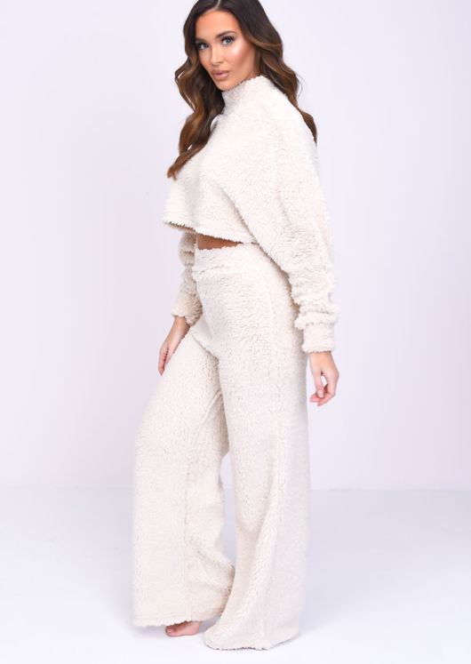 Teddy Borg High Neck Long Sleeve Sweater Crop Top Beige