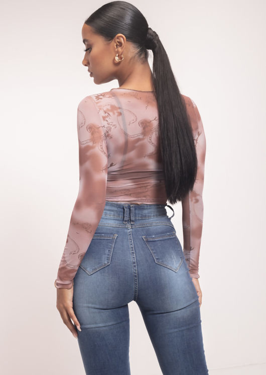 Illustrative Print Frilled Long Sleeve Mesh Crop Top Brown