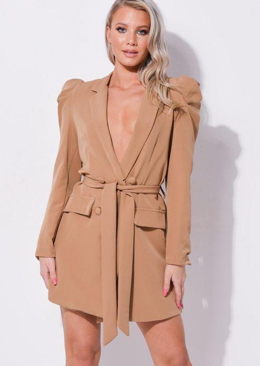 Double Breasted Tie Waist Blazer Dress Brown