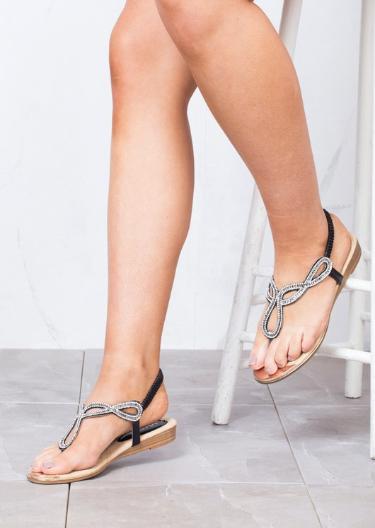 Jewel Embellished Low Wedge Sandals Black