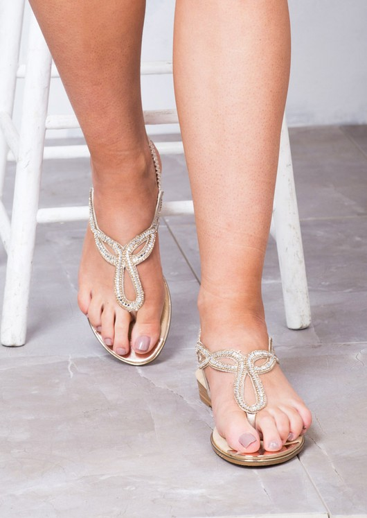 Jewel Embellished Low Wedge Sandals Rose Gold