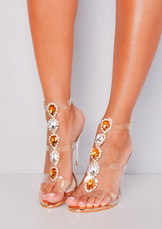 Jewel Embellished Perspex Clear Strap Stiletto Heels Gold