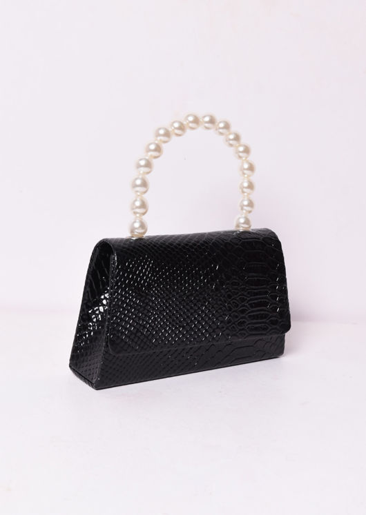 Croc Embossed Faux Pearl Mini Tote Bag Black