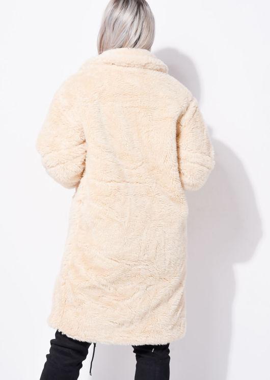 Double Breasted Teddy Brog Oversized Longline Coat Beige