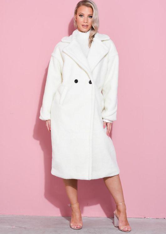 Teddy Borg Longline Coat Cream White