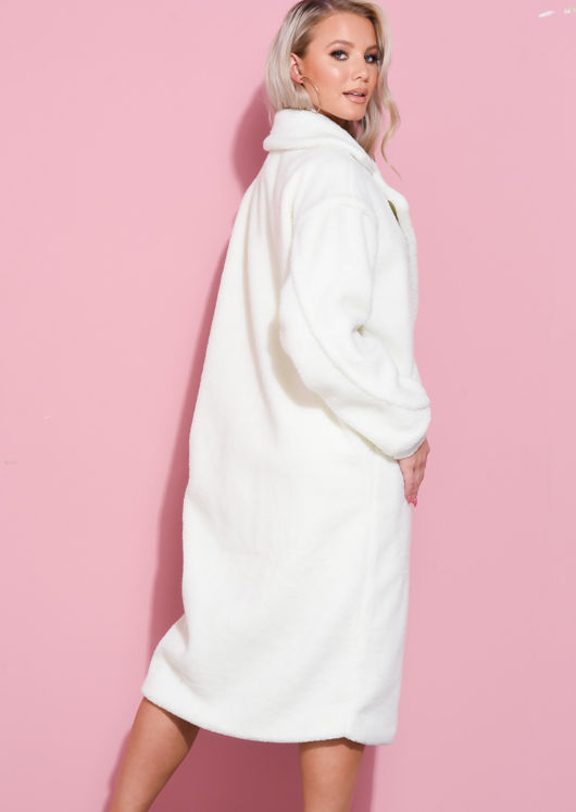 Teddy Borg Longline Coat Cream White