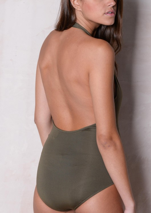 Halter Neck Lace Up Sleeveless Bodysuit Khaki