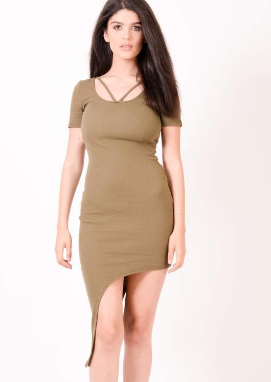 Elise Asymmetric Bodycon Khaki Dress